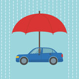 Car under umbrella Royalty Free Stock Photo