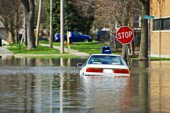Car Under Water. Vehicle Flooded by River Flood in Des Plains, IL, USA. Flooded City Streets After Few Days of Intense Rain. Nature Disasters Photo Collection stock photography
