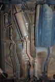Car underbody exhaust pipe fuel tank Stock Photos