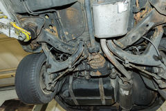 Car undercarriage close-up. Details of the car undercarriage Stock Photography