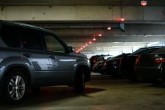 Car on the underground parking. Copy space Stock Images