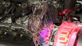 Car valves and pistons work detail. Hybrid car engine valves and pistons work detail