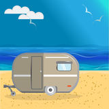 Car van for travel and leisure, on the beach, summer travel Royalty Free Stock Photo