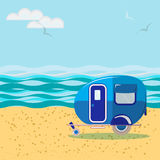 Car van for travel and leisure, on the beach, summer travel Stock Photos