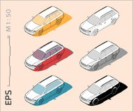 Car vector icons set for architectural drawing and illustration stock image