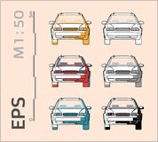 Car vector icons set for architectural drawing and illustration vector illustration