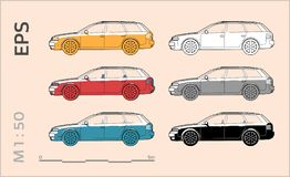 Car vector icons set for architectural drawing and illustration stock photos
