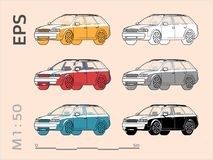 Car vector icons set for architectural drawing and illustration royalty free stock image