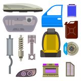 Car vector parts auto repair service vehicle mechanic repair of machines and equipment motocar illustration. Vector illustration and flat icons Royalty Free Stock Photo
