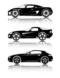 Car vector shapes. Black cars on the white background Stock Image