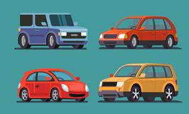 Car vector template on gray background. Flat style Stock Photos