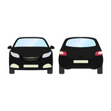 Car vector template on white background. Business hatchback isolated. black hatchback flat style.front and back view Royalty Free Stock Images