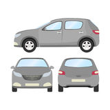 Car vector template on white background. Business hatchback isolated. grey hatchback flat style. front side back view Royalty Free Stock Photos