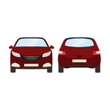 Car vector template on white background. Business hatchback isolated. red hatchback flat style.front and back view Stock Photos