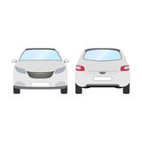 Car vector template on white background. Business hatchback isolated. white hatchback flat style.front and back view Stock Photos