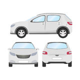 Car vector template on white background. Business hatchback isolated. white hatchback flat style. front side back view Royalty Free Stock Image