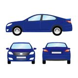Car vector template on white background. Business sedan isolated. blue sedan flat style. side back front view Stock Photo
