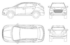 Car vector template on white background. Compact crossover, CUV, 5-door station wagon on outline. Template vector. Isolated. View front, rear, side, top royalty free illustration