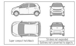 Car vector template on white background. Hatchback isolated. All layers and groups well organized for easy editing and Royalty Free Stock Photo