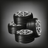 Car vector tyres  isolated on black background Royalty Free Stock Photo