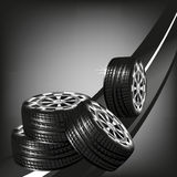Car vector tyres on the road isolated on black background Royalty Free Stock Photos