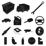 Car, vehicle black icons in set collection for design. Car. And equipment vector symbol stock  illustration Stock Photography