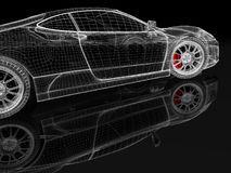 3D car mesh on a black Stock Image