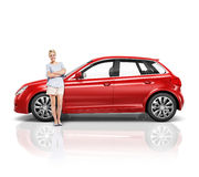 Car Vehicle Hatchback Transportation 3D Illustration Concept Stock Photography