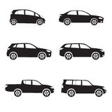 Car or vehicle icon set. Different vector car form. Stock Photo