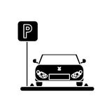 Car vehicle and parking zone design. Car vehicle and parking zone road sign icon. Park space road street rule and area theme. Isolated design. Vector Royalty Free Stock Photo