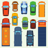 Car vehicle top view vector set icon transport isolated transportation vehicle Stock Image