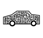 Car vehicle with vehicles silhouette. Vector illustration design Royalty Free Stock Photos