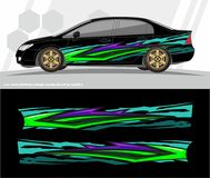 Car and vehicles wrap decal Graphics Kit designs. ready to print and cut for vinyl stickers. Illustration professional Modern Car Bike Vehicle Graphics, Vinyls stock illustration