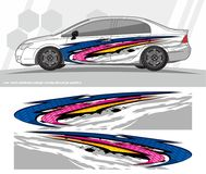 Car and vehicles wrap decal Graphics Kit designs. ready to print and cut for vinyl stickers. stock illustration