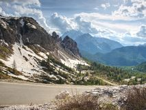 Car view within climbing to parking place bellow Tre Cime di Lavaredo Stock Photography
