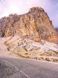 Car view within climbing to parking place bellow Tre Cime di Lavaredo Stock Photos