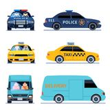 Car view. Delivery truck, police automobile and taxi auto side front viewing isolated urban drivers vector set royalty free illustration