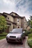 Car and villa Stock Photo