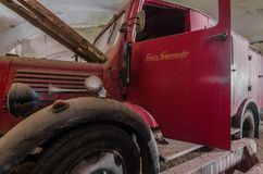 Car of volunteer fire department. Old car of volunteer fire department royalty free stock photos