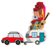 Car with wagon loaded with luggages Royalty Free Stock Image