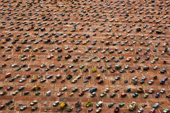 Car Wall. Brick wall covered with many toy cars Royalty Free Stock Image