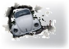 Car through the wall Royalty Free Stock Image