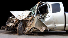 Car was demolished. Isolates the condition of the car was demolished after the accident collided violently Stock Photo