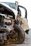 Car was demolished. Wheel, headlight, windshield. And other parts, as part of the car was demolished Royalty Free Stock Photos