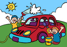 Car Wash. Cartoon image of two kids washing a car Royalty Free Stock Image