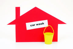 Car wash. Paper breadboard model car wash on a white background Stock Images