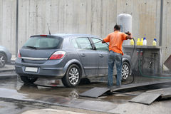 Car Wash. Outdoor car wash with pressure Stock Photo