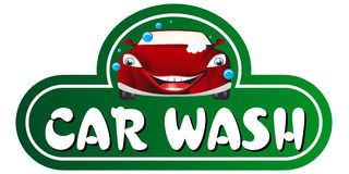 Car wash. The cartoon red car wash sign stock illustration