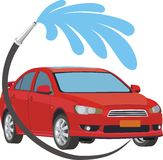 Car wash. An illustration of car and a hose spraying water Royalty Free Stock Photo