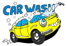 Car wash. Hand drawn cartoon car taking a bath Stock Images